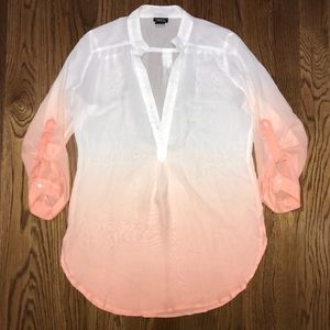 🌷 Rue21 Orange Ombré Sheer Blouse Medium